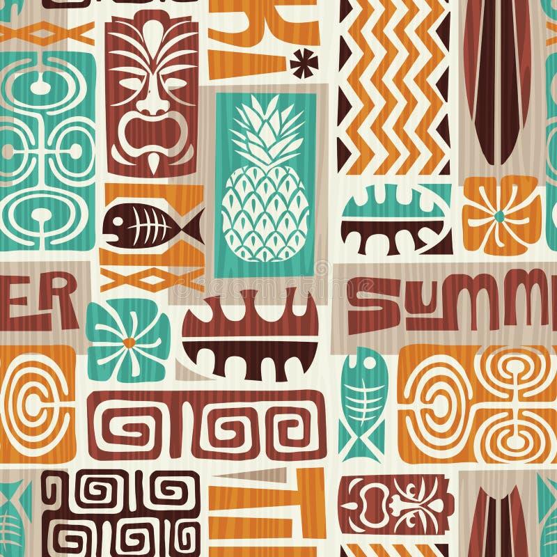 Seamless Exotic Tiki Pattern. Vector Illustration. Stock Vector -  Illustration of shirt, flower: 110898364