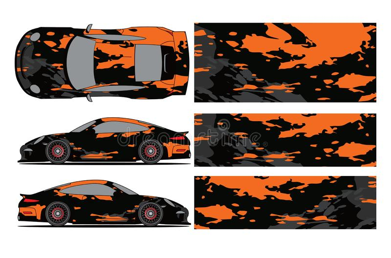 Car decal vector, grunge abstract designs for vehicle Sticker vinyl wrap royalty free illustration