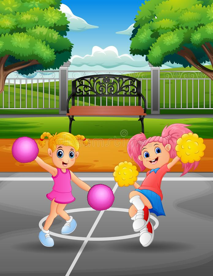 Funny Cheerleaders dancing on the court. Illustration of Funny Cheerleaders dancing on the court stock illustration