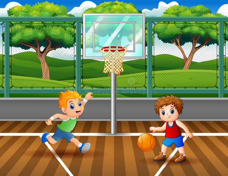 Happy boys playing basketball at the court. Illustration of Happy boys playing basketball at the court vector illustration