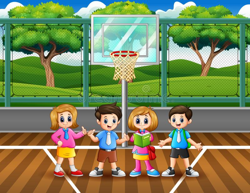 Happy school children in the basketball court. Illustartion of Happy school children in the basketball court royalty free illustration