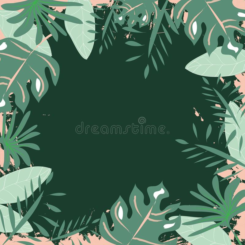 Exotic  Frame Pattern of Tropical Bright Green leaves on green backround. Exotic  Frame Pattern of Tropical Bright Green leaves on deep green backround stock illustration
