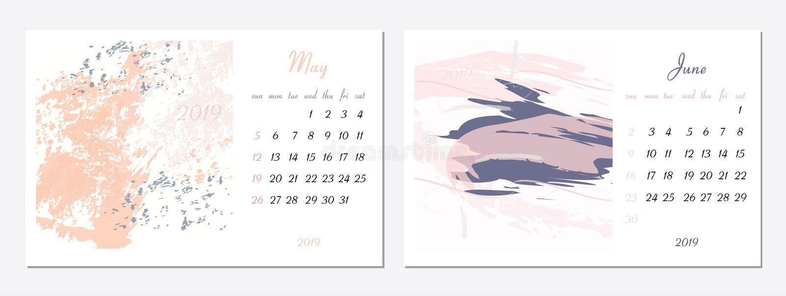 Vector calendar for 2019. Set of 2 months, 2 Hand drawn textures. Week Starts Sunday. Calendar for 2019 vector template. With abstract art pattern vector illustration
