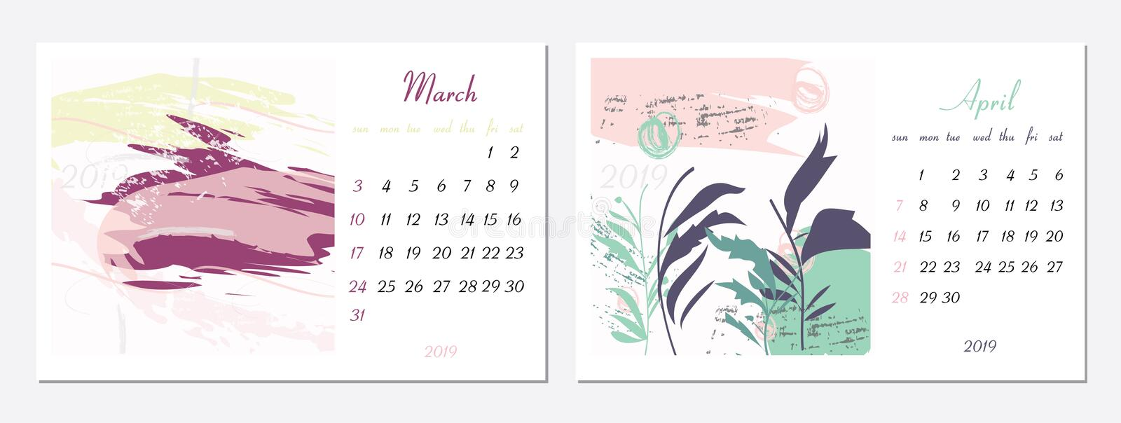 Vector calendar for 2019. Set of 2 months, 2 Hand drawn textures. Week Starts Sunday. Calendar for 2019 vector template. With abstract art pattern stock illustration