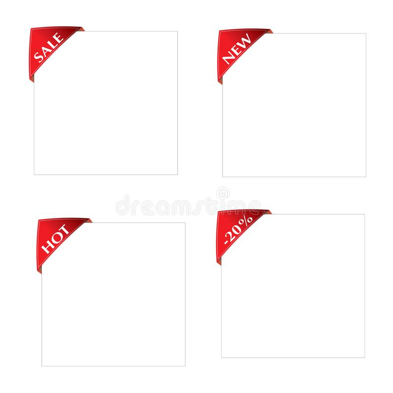 Set of Red Corner Label New, Sale, Hot, -20%on white Paper Sheet stock photos