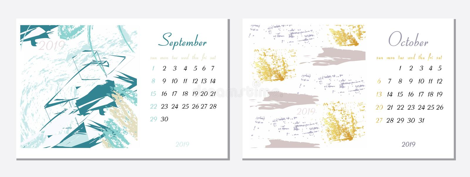 Vector calendar for 2019. Set of 2 months, 2 Hand drawn textures. Week Starts Sunday. Calendar for 2019 vector template. With abstract art pattern royalty free illustration