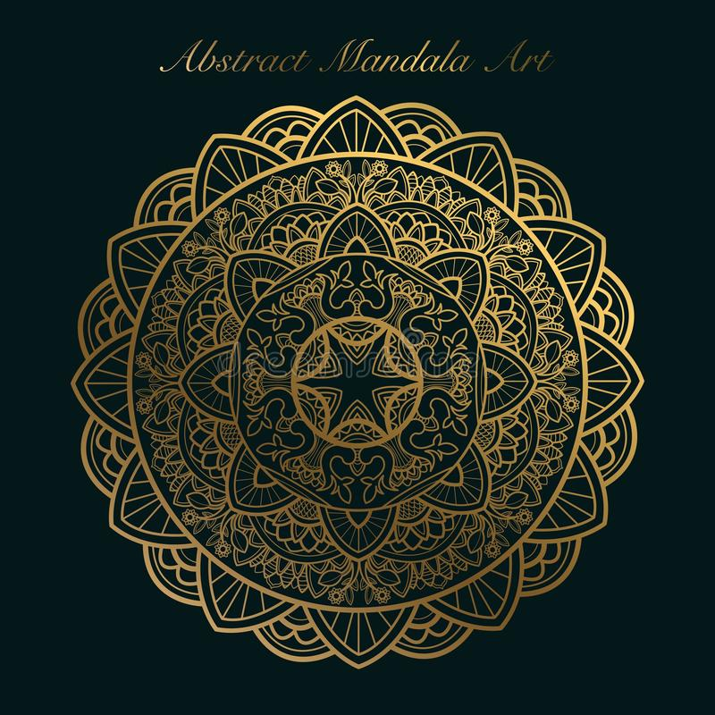 Golden abstract mandala art. Vintage mandala art royalty free illustration