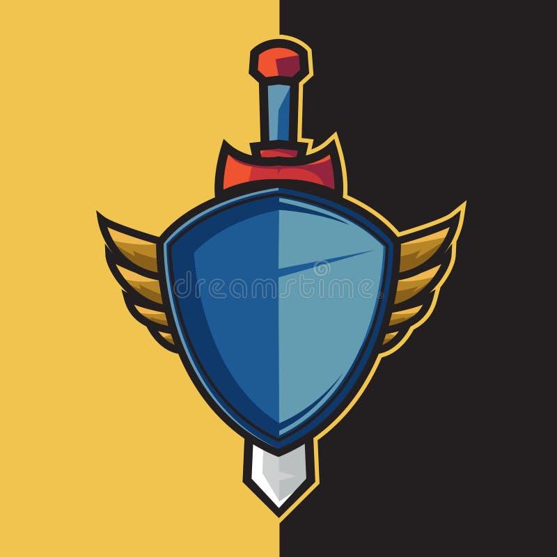 Badge blue winged shield and sword for esport logo. Design ornament stock illustration
