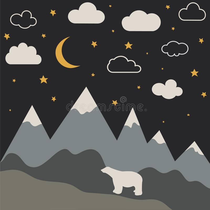 PrintNight mountain landscape with new moon and stars. Baby room wallpaper stock illustration