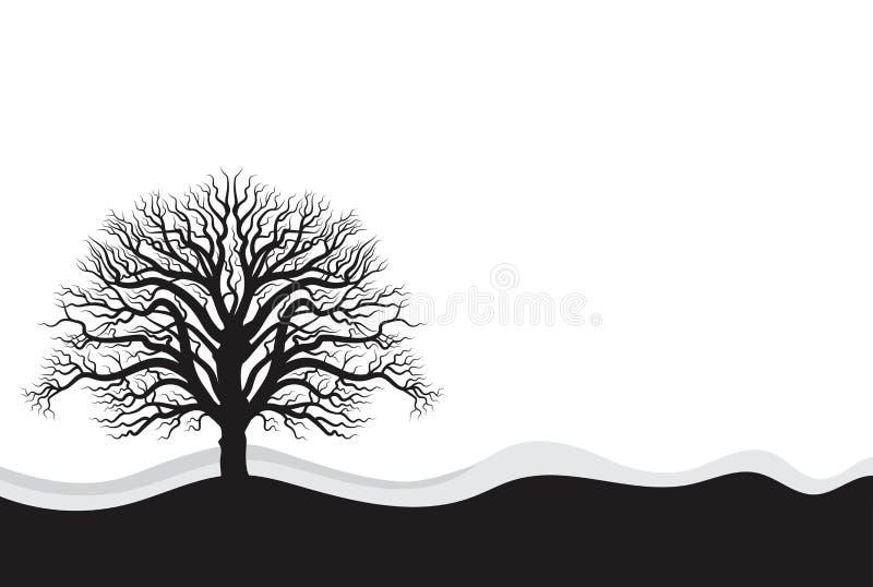 Three Full black tree with ground. vector illustration