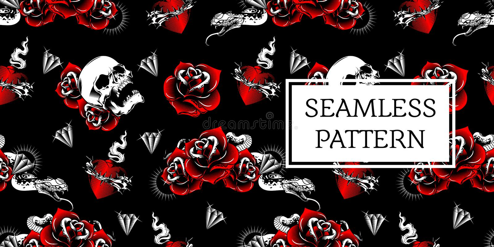 SEAMLESS PATTERN TATTOO DESIGN OLD SCHOOL vector illustration