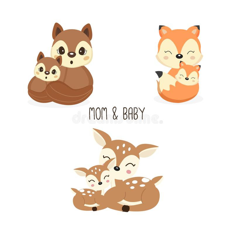 Cute mother and baby woodland animals. Foxes,Deer,Squirrels cartoon. royalty free illustration
