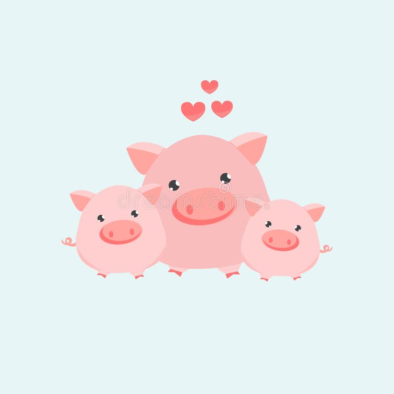 Happy pig family. Vector illustration royalty free illustration