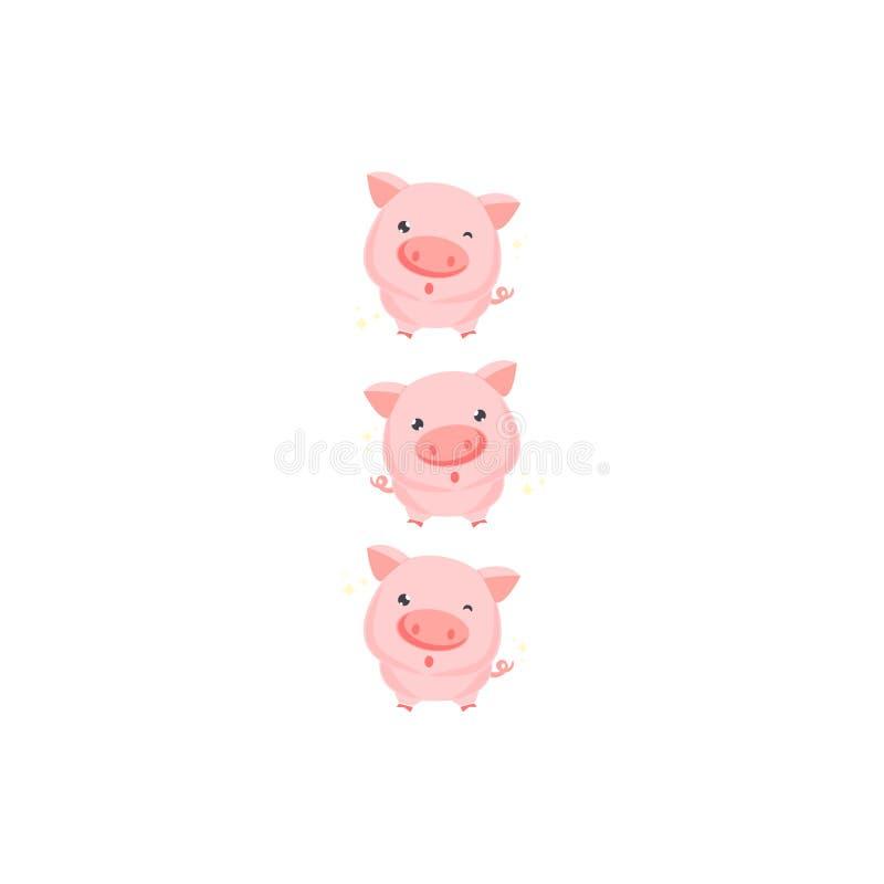 Cute happy pig , funny cartoon animal. royalty free illustration