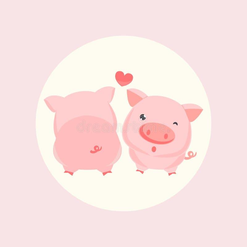 Little pig cartoon. stock illustration