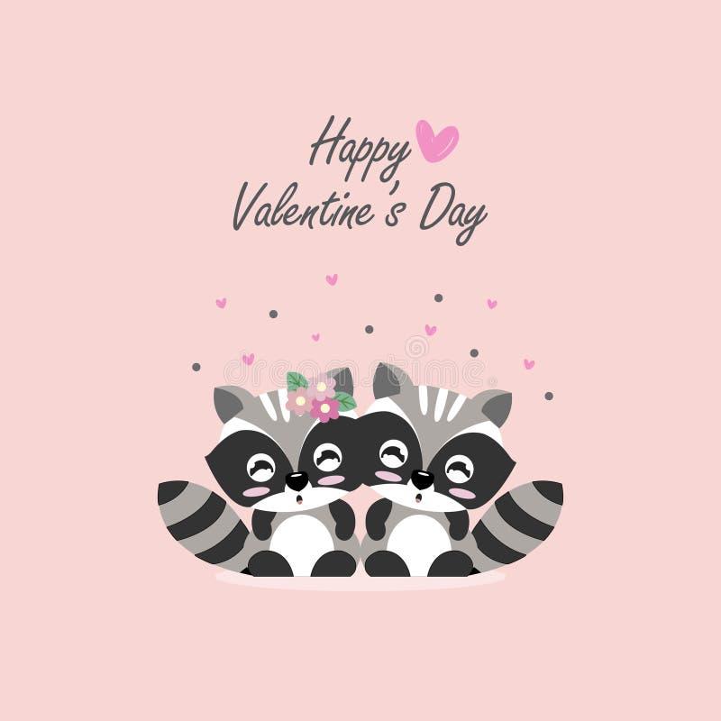 Happy Valentine`s day postcard. Sweet couple raccoon cartoon vector illustration. vector illustration