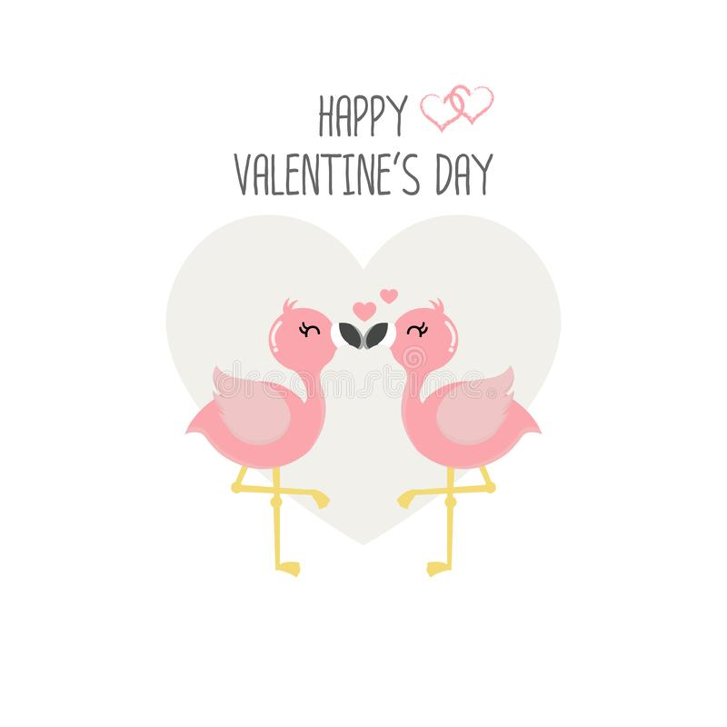 Happy Valentine`s day card with pink flamingos in love. vector illustration