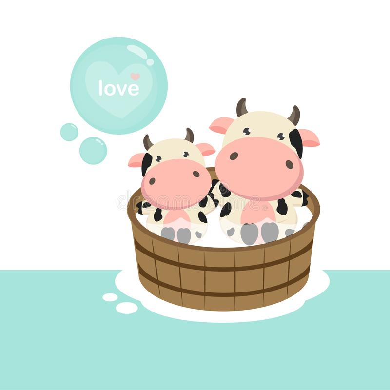 Happy cow and baby in the wood bath tub. stock illustration