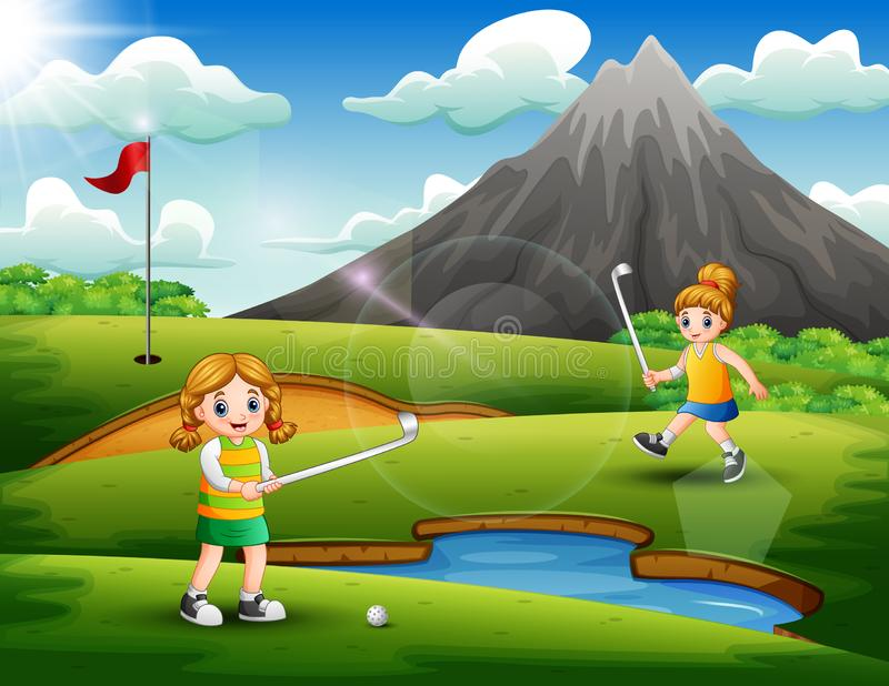 Cute girls playing golf in the court royalty free illustration