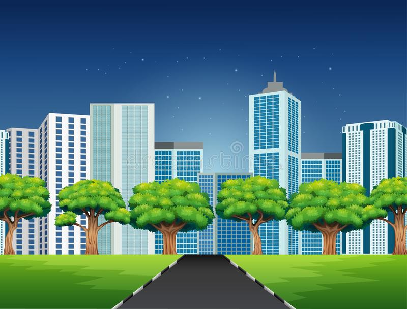 Cartoon of a city scene with road to downtown royalty free illustration