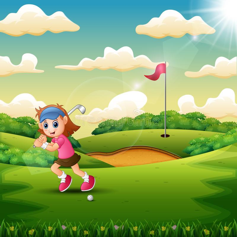 Joyful a girl playing golf in the court. Illustration of Joyful a girl playing golf in the court stock illustration