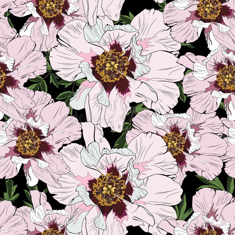 Pink peony flowers with leaves seamless pattern. Watercolor style Illustration. stock illustration