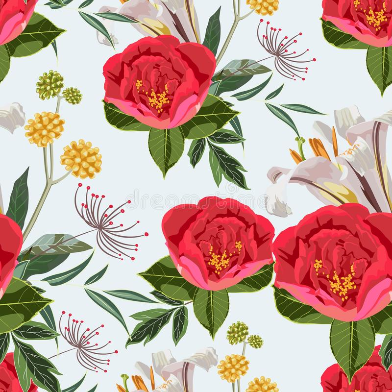 Red peony flowers with grasses and herbs bouquet seamless pattern. Watercolor style Illustration. royalty free illustration