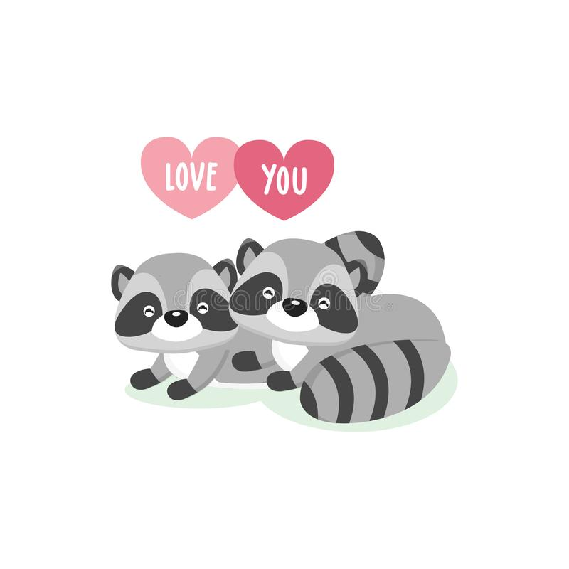 Happy Valentine`s Day greeting card with cute couple raccoons in love. royalty free illustration