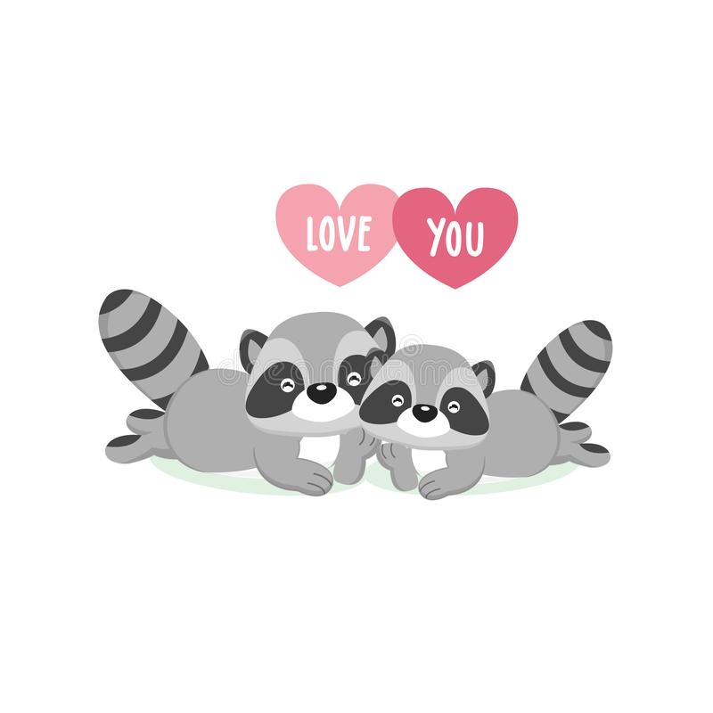Happy Valentine`s Day greeting card with cute couple raccoons in love. stock illustration
