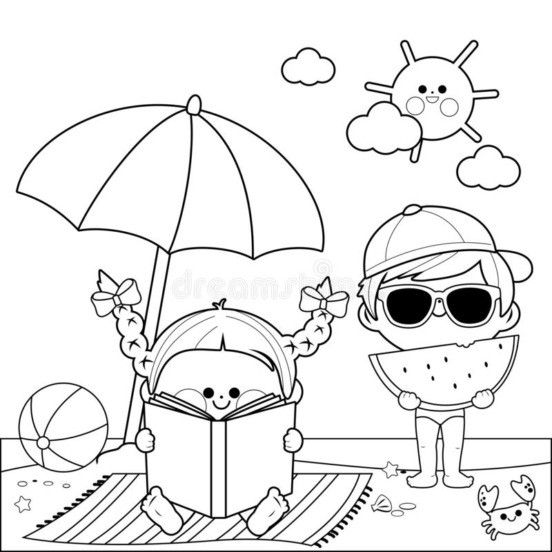 Children at the beach reading a book and eating a slice of watermelon under a beach umbrella. Black and white coloring book page. A boy and a girl at the beach royalty free illustration