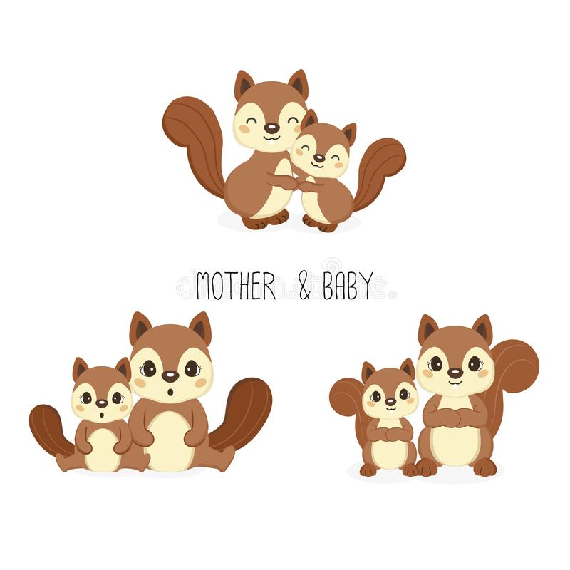 Squirrel mom and baby. Vector illustration. vector illustration