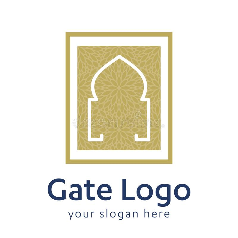Gate logo door home entrance icon black house doorway or real estate business. minimal design. future modern construction company. royalty free illustration