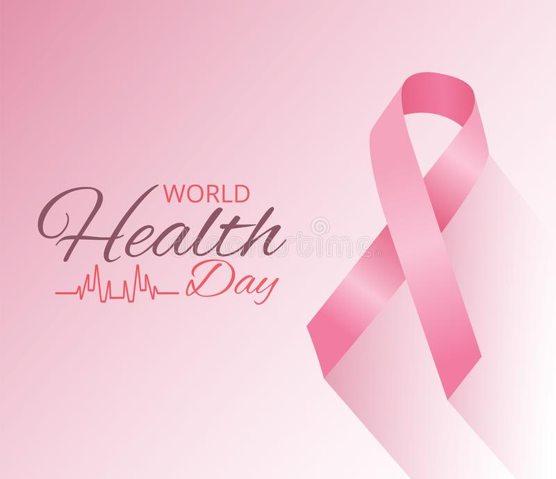 World health day concept. 7 April.Medicine and healthcare image. Editable vector illustration in pink color ribbon isolated on a p vector illustration