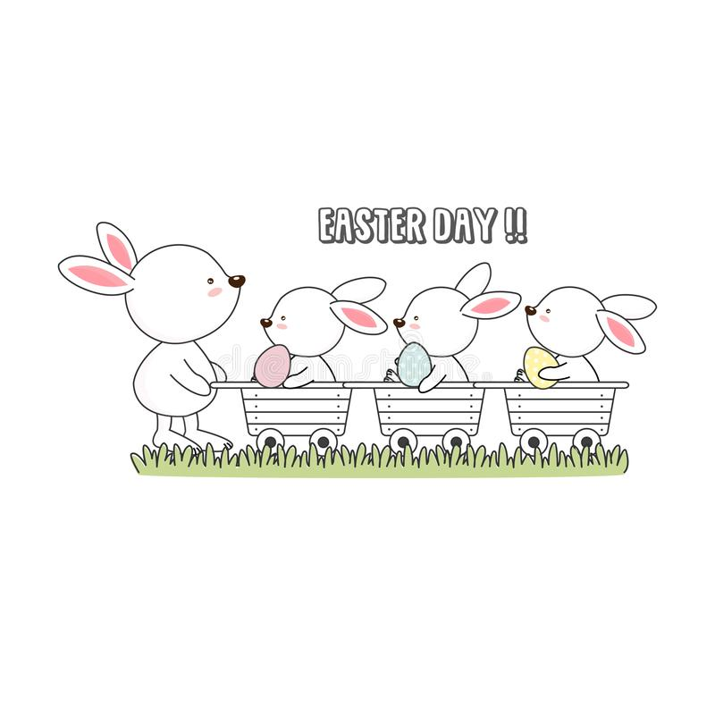 Happy Easter card. Easter bunnies and egg. stock illustration