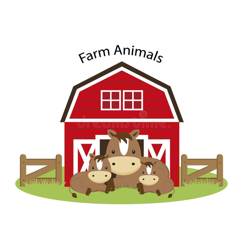Happy Farm animals. Cute horse family cartoon illustration. stock illustration