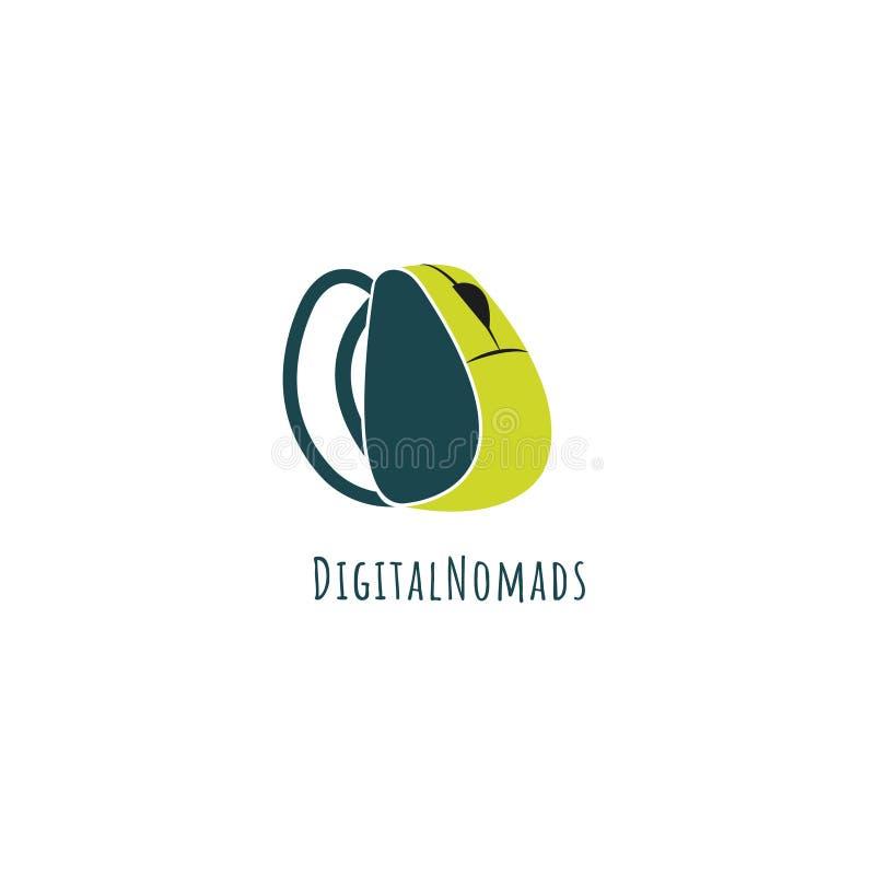 Digital nomad vector logo. Computer mouse logo. Backpack logo. Freelancer emblem vector illustration