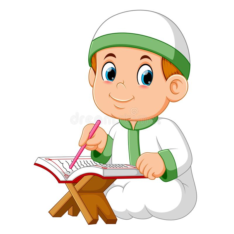 The boy is sitting and reading al quran. Illustration of the boy is sitting and reading al quran royalty free illustration