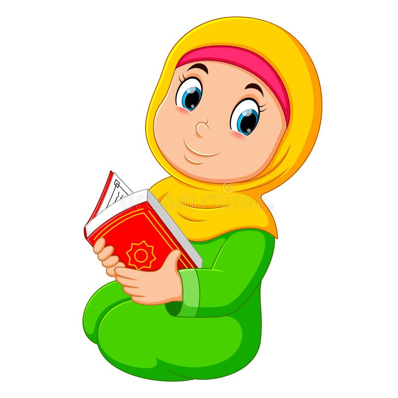 The beautiful girl with yellow veil is holding al quran. Illustration of the beautiful girl with yellow veil is holding al quran royalty free illustration