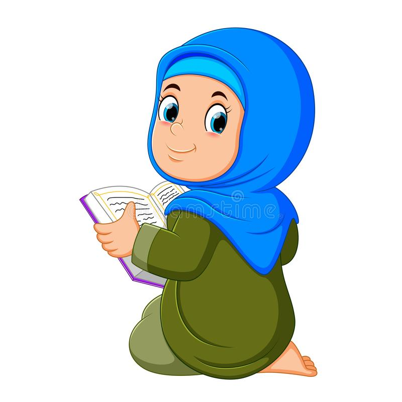 the beautiful girl with blue veil is holding al quran stock illustration