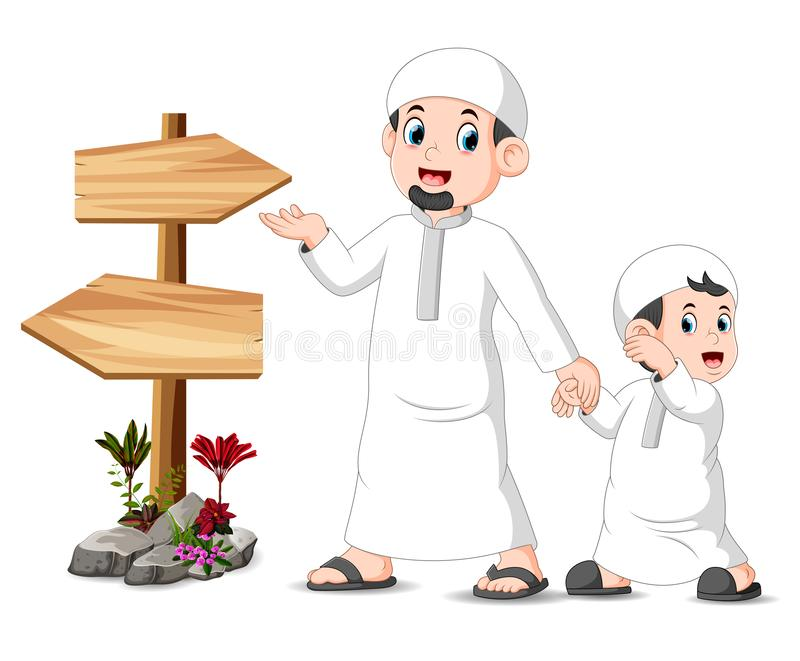 A child with his father is standing and posing near the blank wooden signpost. Illustration of  a child with his father is standing and posing near the blank vector illustration