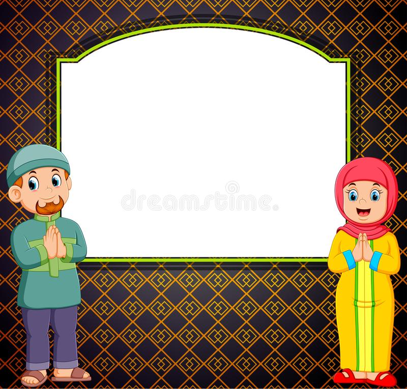 Two adult is standing in front of the blank banner with the mozaik pattern royalty free illustration