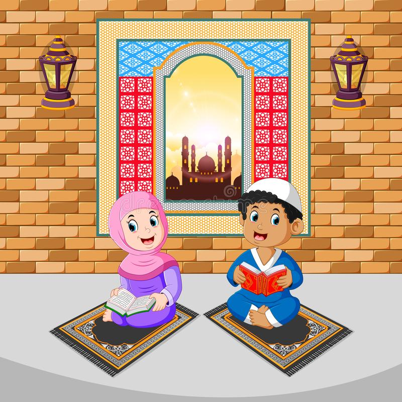 the two children are reading and praying with the happy face on the ramadan stock illustration