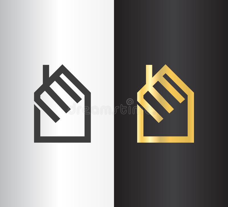Simple line logo design for construction company. House logo or icon vector illustration