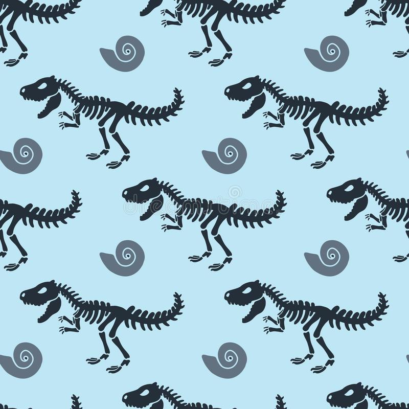 Dinosaur skeleton and fossils. Vector seamless pattern. stock image