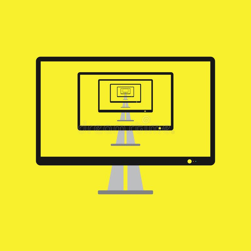 Modern flat screen computer monitor flat style. Computer display isolated on white background. Layers are orderly and easily ediable vector illustration
