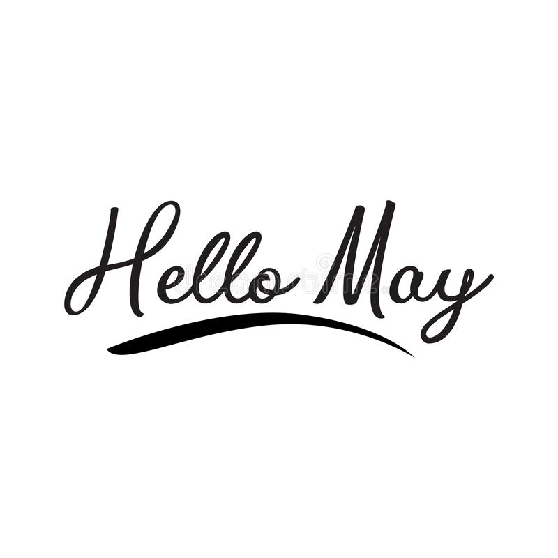 Hello may. greeting vector lettering vector illustration