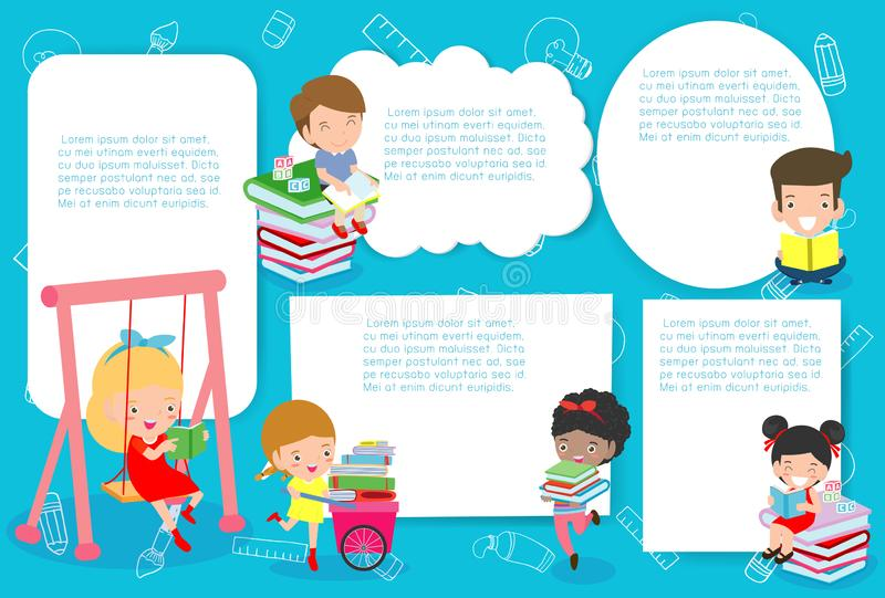 Cute kids education, school kids, back to school Template for advertising brochure,your text, ready for your message. Vector. Illustration stock illustration