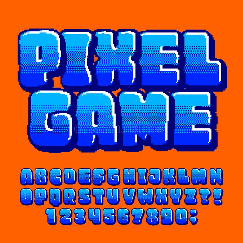 Pixel Game alphabet font. Digital pixel gradient letters and numbers in blue colors. royalty free illustration