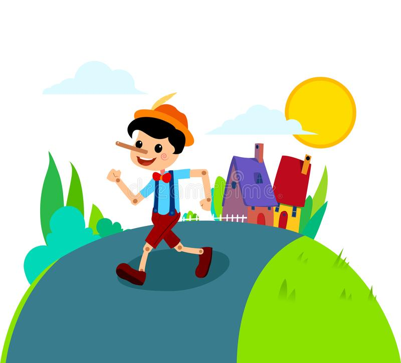 Pinocchio Tale Vectoral Illustration. For Children Book Covers, Magazines, Web Pages. Village Background royalty free illustration
