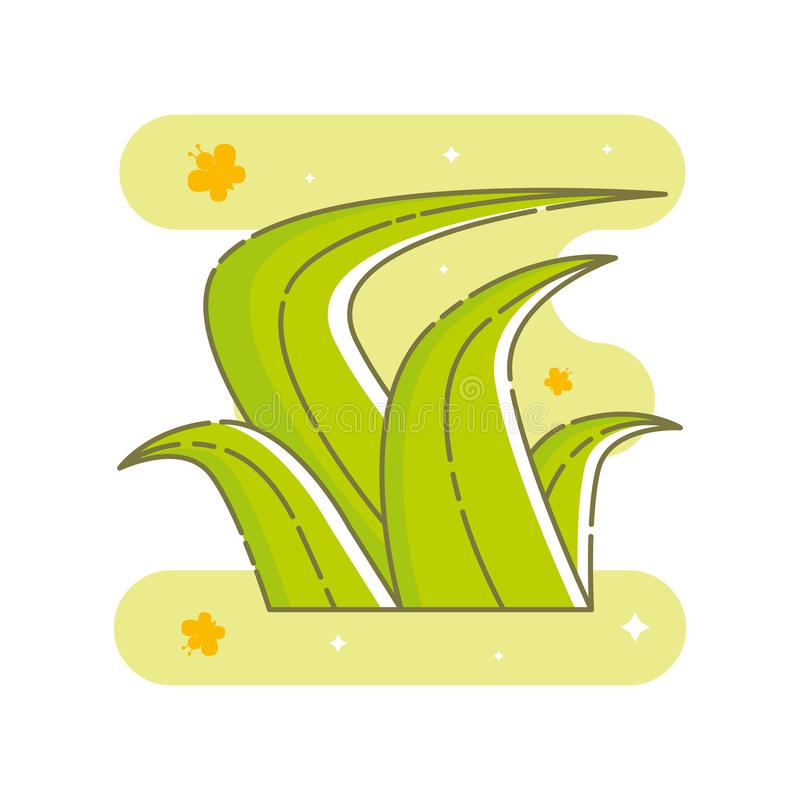 Kawaii bush of grass in flat linear style. stock illustration